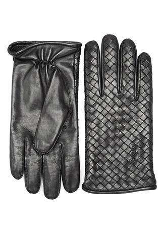 Bottega Veneta Erkek Siyah Örgü Dokulu Deri Eldiven 9.5 Ürün Resmi