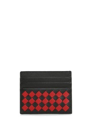 Bottega Veneta Erkek Siyah Kırmızı Örgü Dokulu Deri Kartlık Ürün Resmi