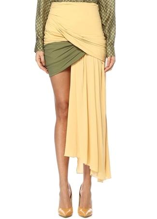 Jacquemus Kadın Colorblocked Asimetrik Kesim Drapeli Mini Etek Sarı 38 I (IALY) Ürün Resmi