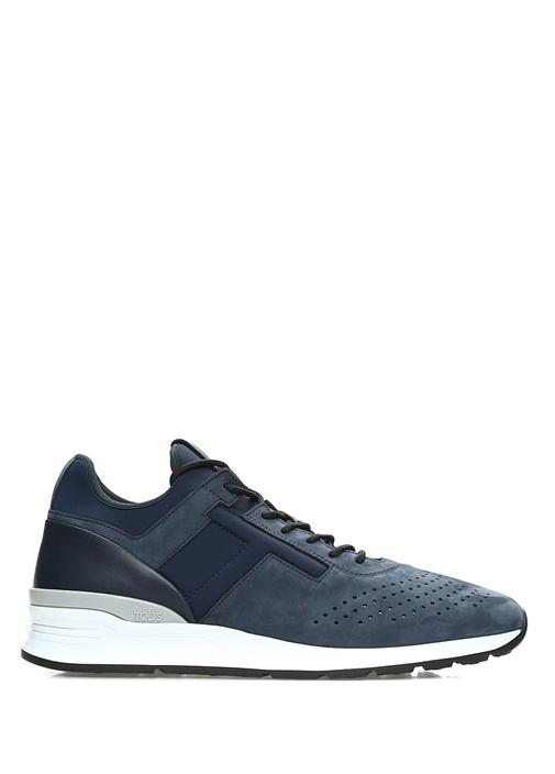 Lacivert Logolu Delik Detaylı Erkek Süet Sneaker
