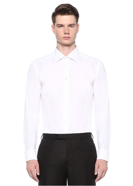 Slim Fit Beyaz Klasik Yaka Dokulu Gömlek
