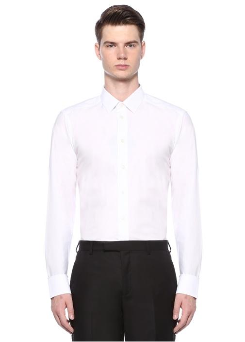 Slim Fit Beyaz İngiliz Yaka Gömlek