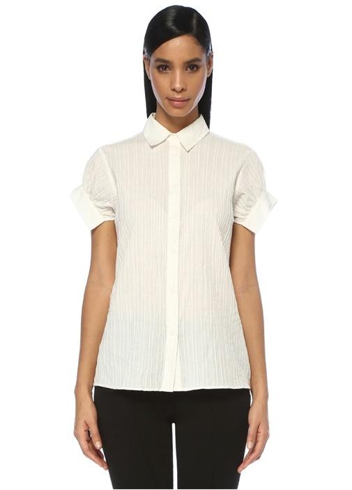 Dorian Beyaz Çizgili Büzgülü Yarım Kol Gömlek