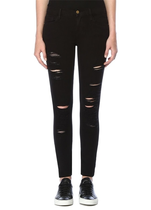 Siyah Normal Bel Yıpratmalı Skinny JeanPantolon