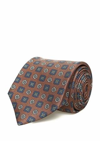 Kiton Erkek Kahverengi Mikro Desenli İpek Kravat Ürün Resmi