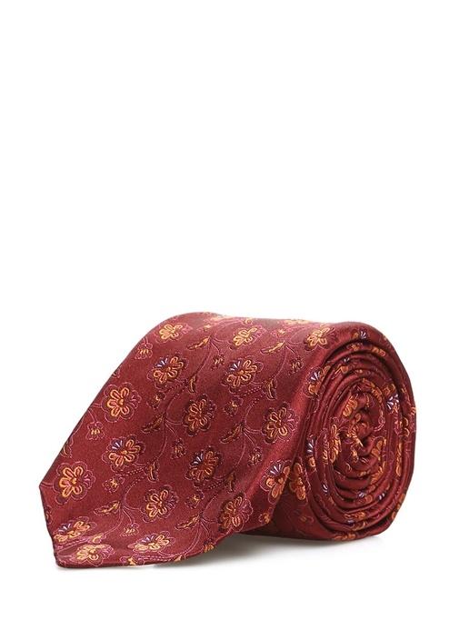 Bordo Çiçek Desenli İpek Kravat