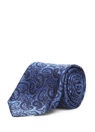Kiton Erkek Mavi Mikro Şal Desenli İpek Kravat Ürün Resmi