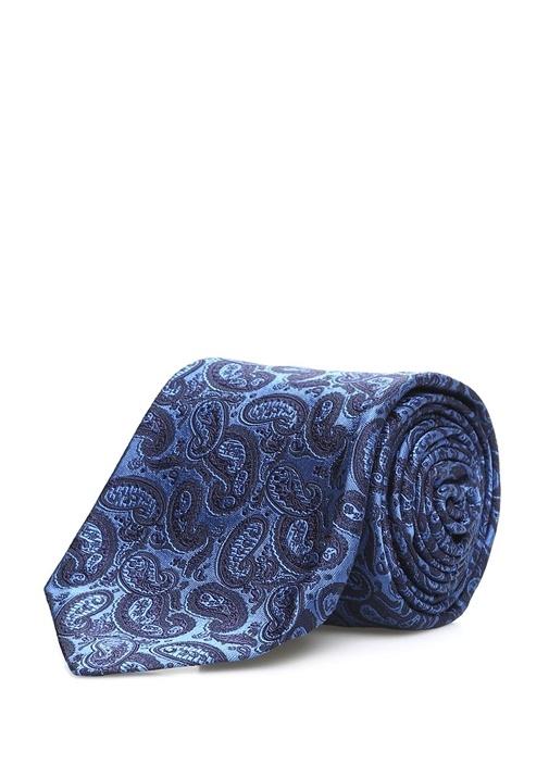 Mavi Mikro Şal Desenli İpek Kravat
