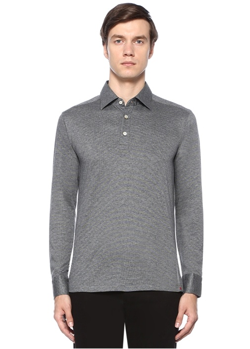Gri İngiliz Yaka Mikro Desenli Sweatshirt