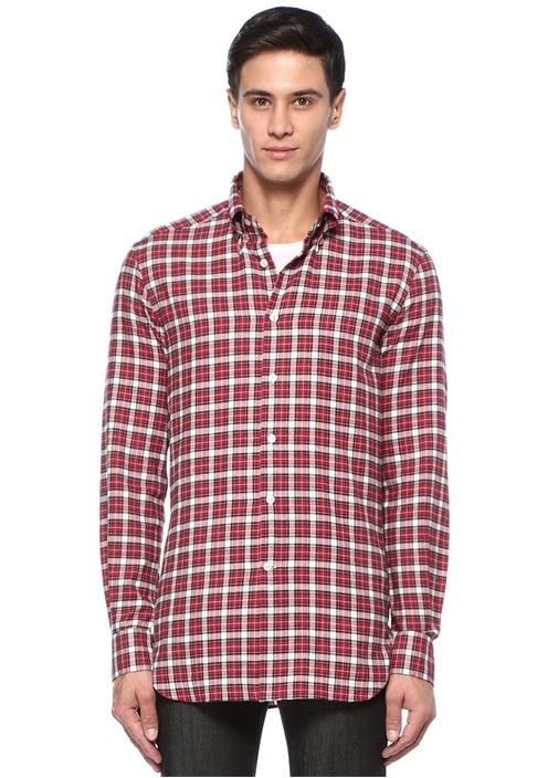 Kırmızı Düğmeli Yaka Kareli Gömlek