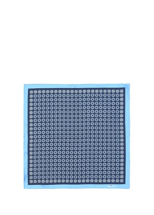 Mavi Mikro Desenli İpek Poşet Mendil