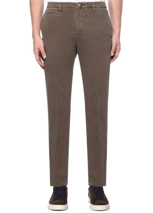 Bej Normal Bel Boru Paça Dokulu Pantolon