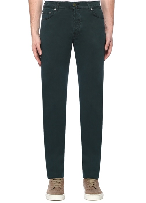 Yeşil Normal Bel Boru Paça Pantolon