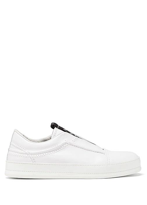 Beyaz Logo Şeritli Erkek Sneaker