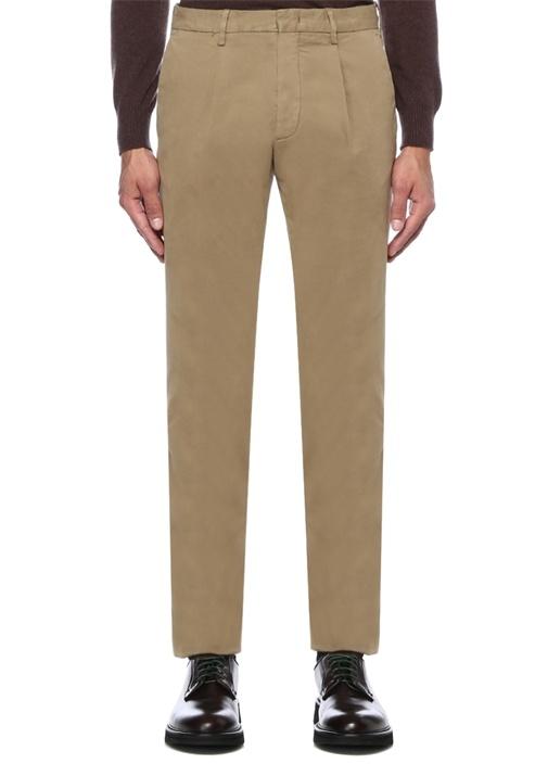 Bej Normal Bel Fermuarlı Boru Paça Pantolon