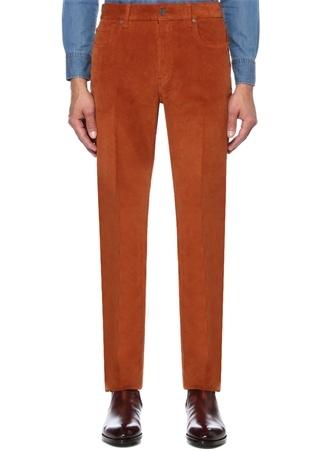 Turuncu Normal Bel Dar Kesim Kadife Pantolon