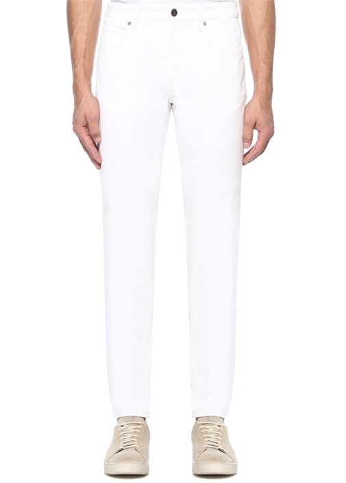 Beyaz Normal Bel Kadife Pantolon