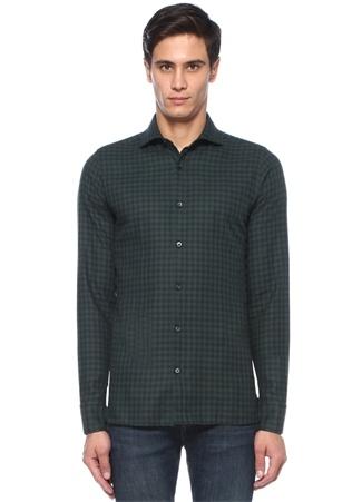 Z Zegna Erkek Yeşil İngiliz Yaka Kareli Gömlek 41 I (IALY) Ürün Resmi