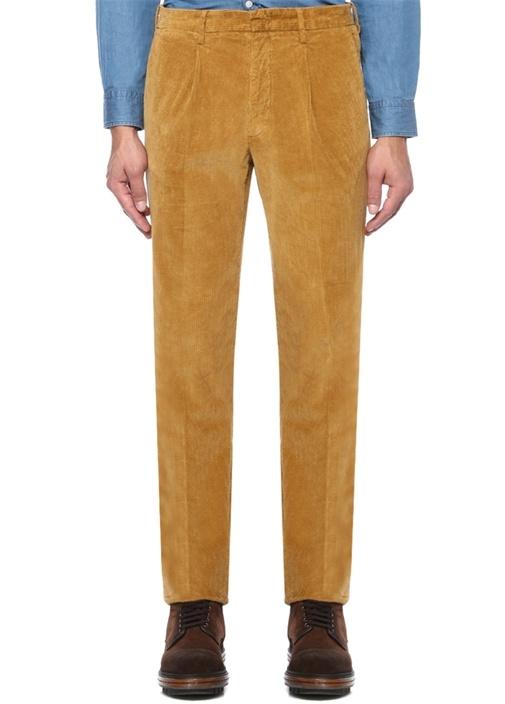 Hardal Normal Bel Kadife Pantolon