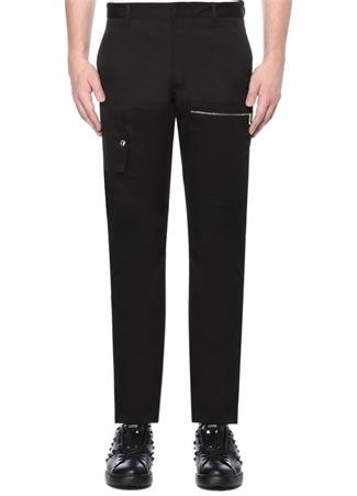 Siyah Normal Bel Boru Paça Kargo Pantolon