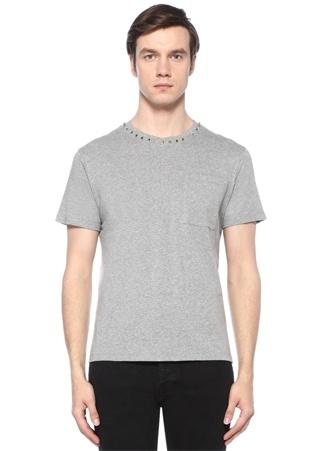 Gri Melanj Bisiklet Yaka Troklu Basic T-shirt