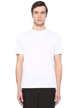 Beyaz Bisiklet Yaka Troklu Basic T-shirt