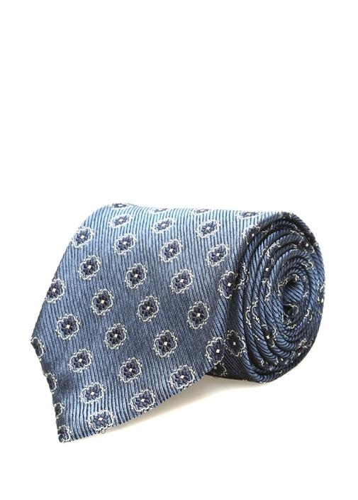 Mavi Mikro Çiçek Desenli İpek Kravat