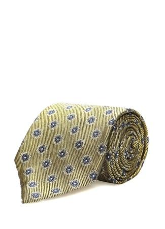 Erkek Sarı Mikro Çiçek Desenli İpek Kravat EU IT