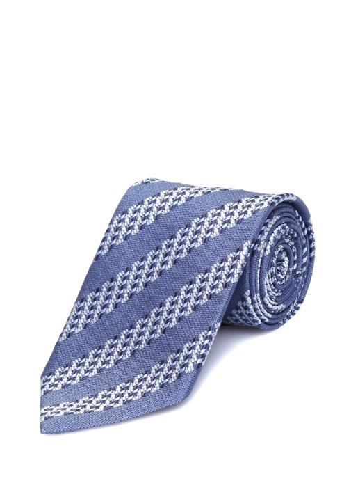 Mavi Çizgili İpek Kravat
