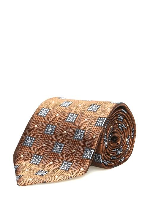Kahverengi Mikro Desenli Puantiyeli İpek Kravat