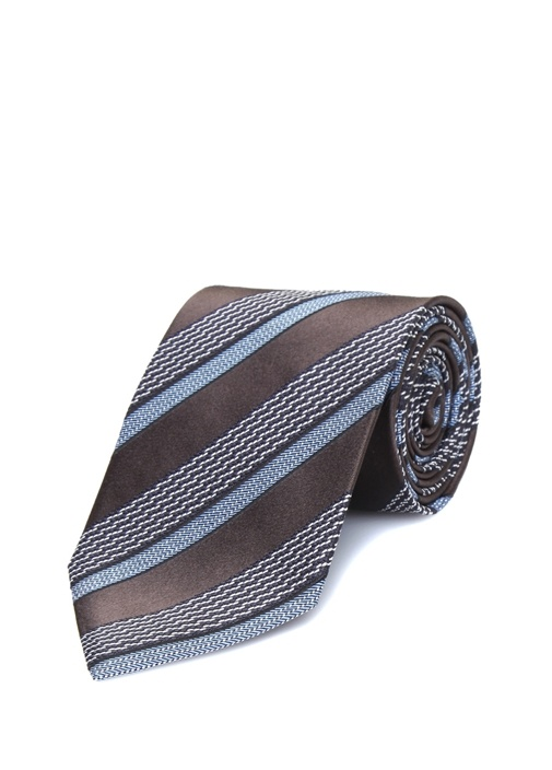 Kahverengi Mavi Çizgili İpek Kravat