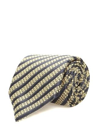 Ermenegildo Zegna Erkek Sarı Lacivert Çizgili İpek Kravat I (IALY) Ürün Resmi