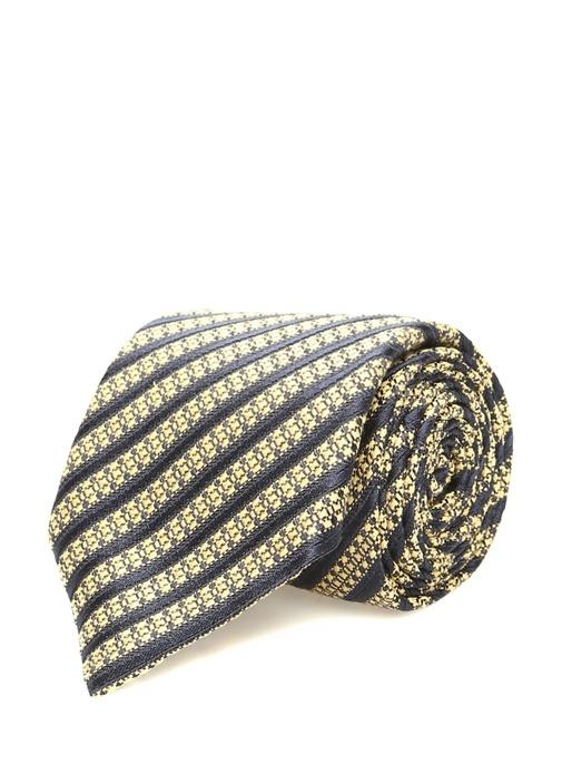 Sarı Lacivert Çizgili İpek Kravat