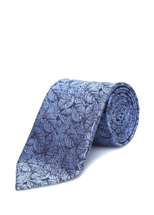 Mavi Yaprak Desenli İpek Kravat