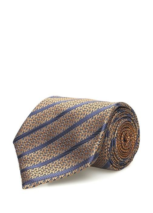 Turuncu Çizgili Mikro Desenli İpek Kravat