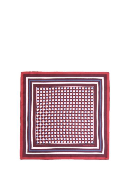 Kırmızı Mikro Desenli İpek Poşet Mendil