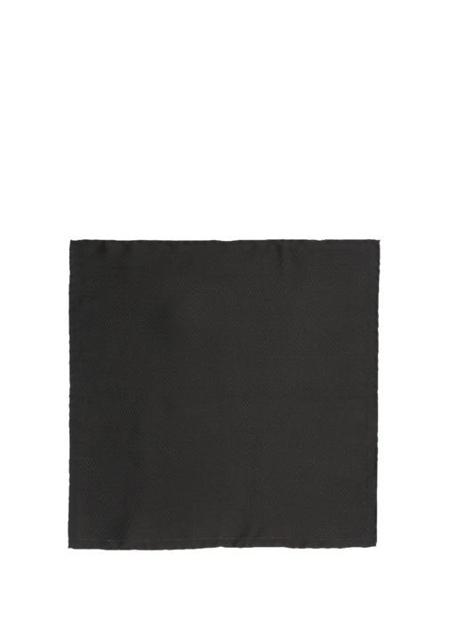 Siyah Mikro Desenli İpek Poşet Mendil