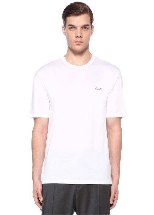 Beyaz Bisiklet Yaka Logo Nakışlı Basic T-shirt