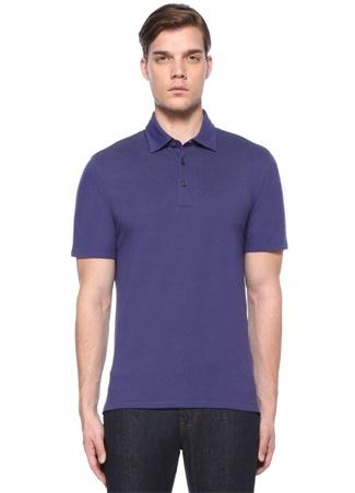 Erkek Mor Polo Yaka Düğme Kapatmalı Dokulu T-shirt 52 IT