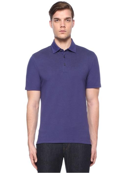 Mor Polo Yaka Düğme Kapatmalı Dokulu T-shirt