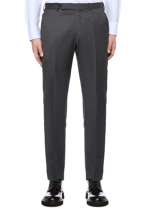 Gri Normal Bel Boru Paça Yün Pantolon