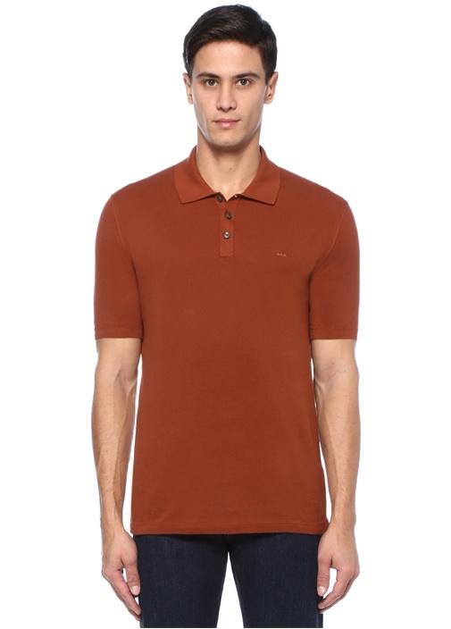Kahverengi Polo Yaka Logo Nakışlı T-shirt