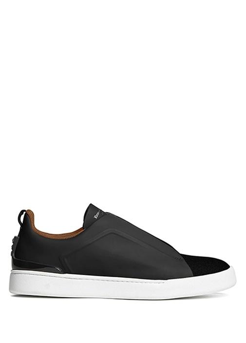 Mat Siyah Çapraz Lastik Detaylı Erkek Deri Sneaker