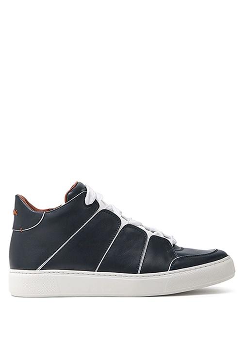 Lacivert Çizgi Detaylı Erkek Deri Sneaker