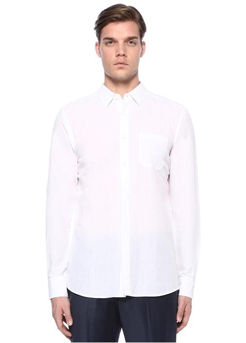 Beyaz İngiliz Yaka Dokulu Gömlek