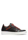 Siyah Logolu Çizgi Detaylı Erkek Deri Sneaker
