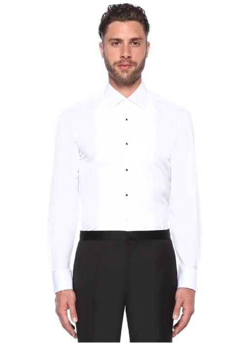 Tailored Fit Pleat Beyaz İngiliz Yaka Gömlek