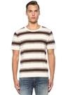Bej Çizgili Basic T-shirt