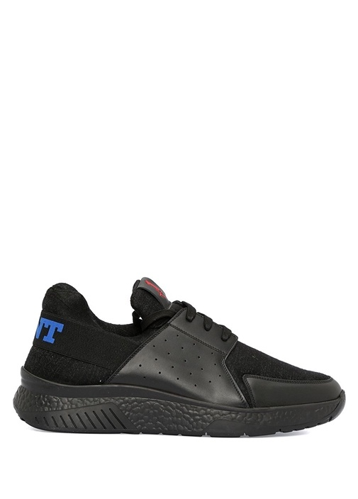Siyah Logo Şeritli Erkek Yün Sneaker