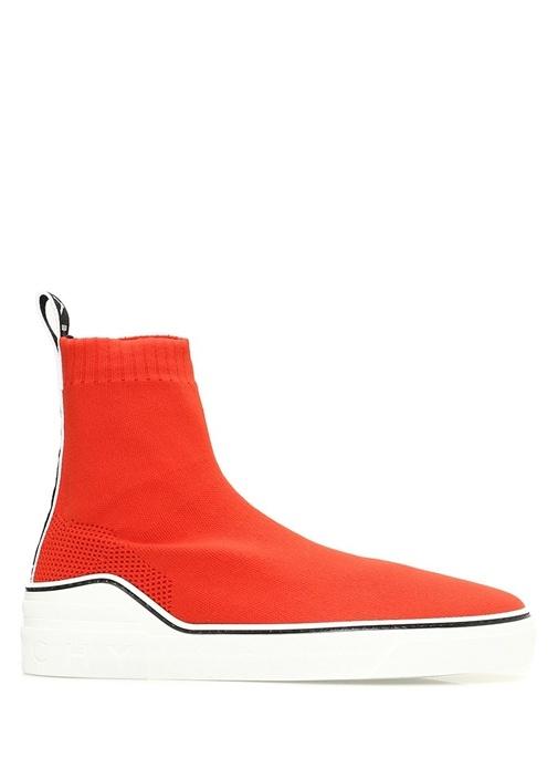 Kırmızı Logo Şeritli Çorap Formlu KadınSneaker